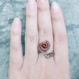 Кольцо из меди с сердоликом