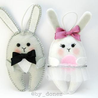 Фетровые зайцы заяц фетр игрушка