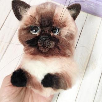 Брошь кот, котёнок, сиамский кот, портретная брошь