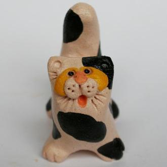 """Керамічна фігурка """"Котик чорно-білий"""""""