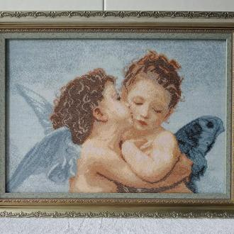 Картина вышитая крестиком ′По мотивам В. Бугро Амур и Психея. Дети