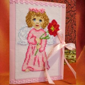 Листівка-вишиванка «Ангелик з квіточкою»