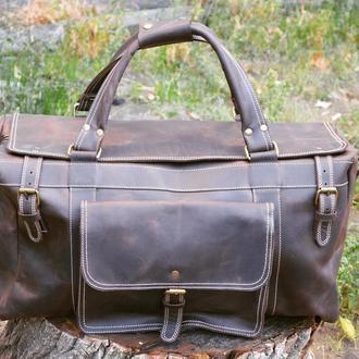 Кожаная дорожная / спортивная сумка для ручной клади BUNKER