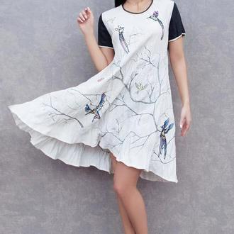"""Платье с вышивкой и росписью """"Птичьи трели"""" вышитое платье, льняное платье, свободное платье"""