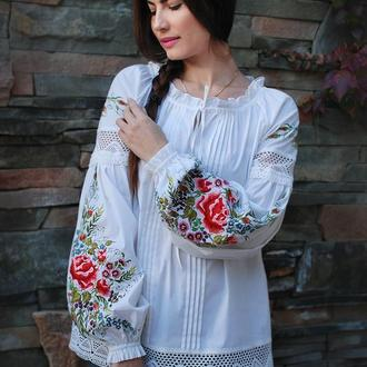 "Нарядная блуза с вышивкой ""Цветочная новелла-2"" вышитая блуза, женская вышиванка"