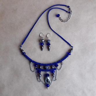 Синее бохо колье и серьги, украшение на шею, подарок девушке