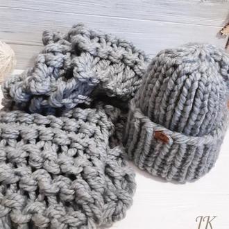 Комплект шапка и шарф из толстой шерстяной пряжи