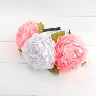 Объемный розовый венок с роз на голову Нежное украшение для волос на фотосессию Подарок девушке