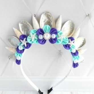 Украшение для фотосессии в морском стиле Корона русалки девушке Ободок в подарок Обруч на голову