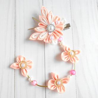 Персиковая заколка с бабочками Нежное украшение для волос Аксессуар для фотосессии Подарок девочке