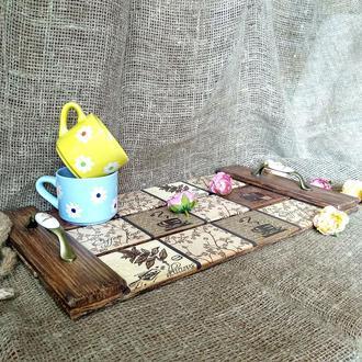 Чайно-кофейный поднос (дуб)
