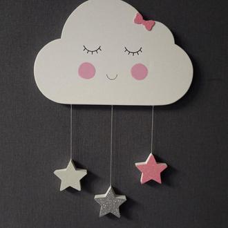 Облачко в детскую комнату. Декор на стену. Облачка и звездочки