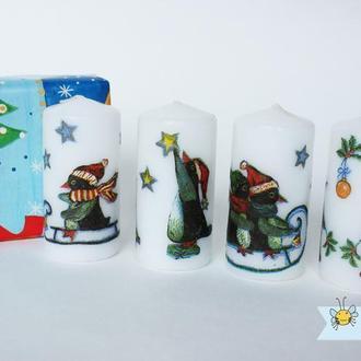 """Набор новогодних свечей """"Пингвины"""""""