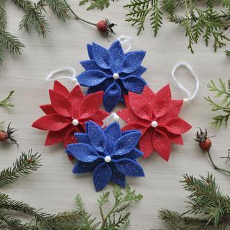 Новогодние игрушки Рождественские цветы, фетровые игрушки