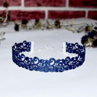 Чокер кружевной синий «Сапфир»