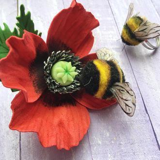 Валяная брошь, брошь Шмель, украшение пчела, брошь мак
