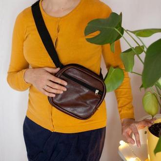 Поясная сумка, сумка через плечо из натуральной кожи