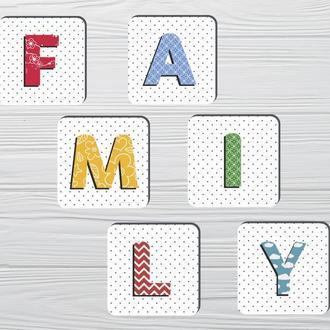 Набор костеров «Family» (6шт) на пробковой основе