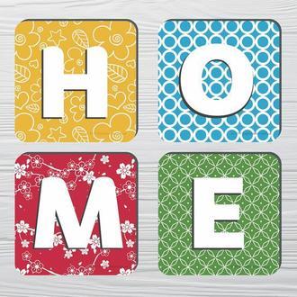 Набор костеров «Home» (4шт) на пробковой основе