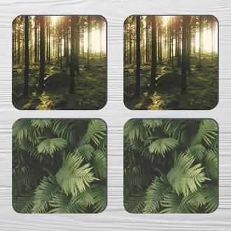 Набор костеров «Дыхание Леса» (4шт) на пробковой основе