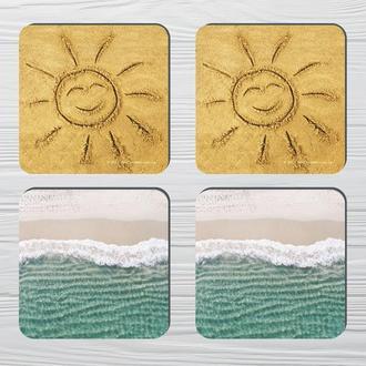 Набор костеров «Солнце и Море» (4шт) на пробковой основе