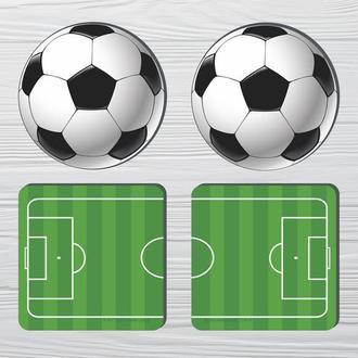 Набор костеров «Футбол» (4шт) на пробковой основе