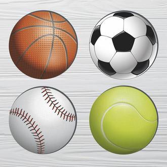 Набор костеров «Спортивные Мячи» (4шт) на пробковой основе