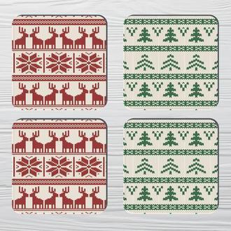 Набор костеров «Рождественские Олени» (4шт) на пробковой основе