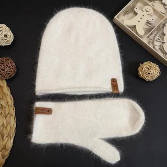 Набор варежки и шапка бини пушистая белая тофу зимняя ангора кролик норка