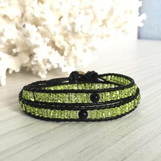 Салатовый бисерный браслет, браслет в стиле Chan Luu, браслет Чан Лу из бисера
