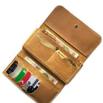 Женский кошелек из матовой кожи желтого цвета