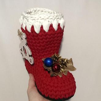 Новогодние Сапоги для подарков из трикотажной пряжи