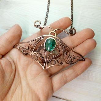 Мотылек ожерелье-брошь  wire wrap