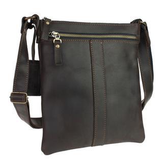Именная кожаная сумка «Light» - Темно-коричневая