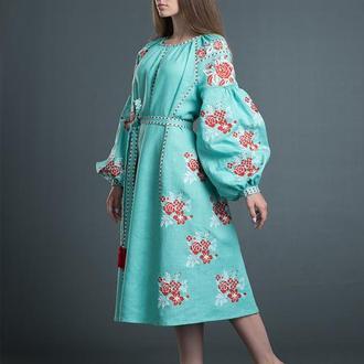 """Вишита льняна сукня """"Квіткова Мрія"""" (м'ята)"""