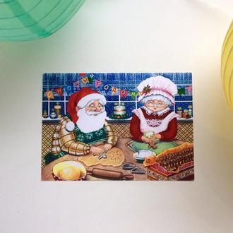 Новогодняя открытка «Готовим имбирные пряники»