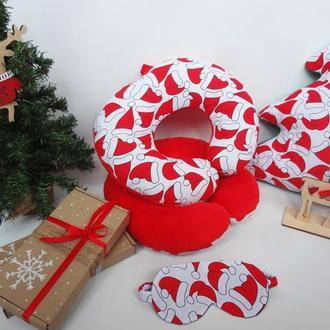 Двухсторонняя дорожная подушка на шею из плюша и хлопка - новогодние колпаки