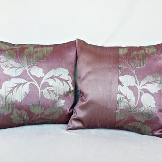 Набор декоративных подушек,2шт.Цветочный, розово-серебристый полисэтер.