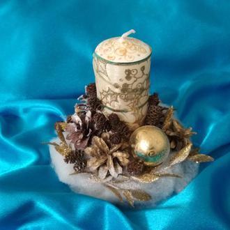 Новогодняя свеча, свеча на стол, зимняя композиция, композиция со свечой