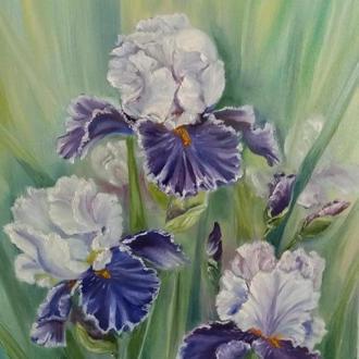 Картина маслом квіти Іриси