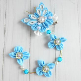 Голубое праздничное украшение для волос Заколка канзаши с бабочкой на фотосессию Подарок девочке