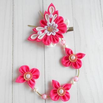 Розовая заколка с бабочками на фотосессию Украшение канзаши для волос Подарок девочке на праздник