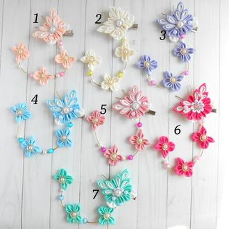 Заколки с бабочками канзаши в ассортименте Украшение для волос Подарок девочке на день рождение