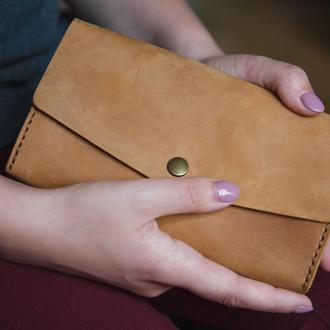 Женский мужской кожаный клатч кошелек (3 card) «Nice Foxy» на кнопке с отделом для монет
