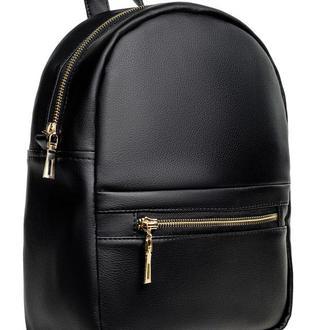 Женский рюкзак модный чёрный для прогулок, учебы с экокожи