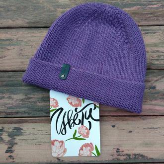 Вязаная шапка с отворотом, фиолетовая шапка
