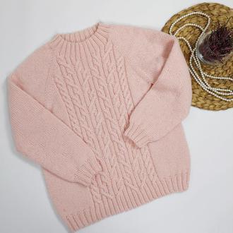 Bregoli design пуловер свитер джемпер вязаный размер s-m розовый пудра