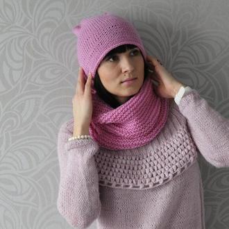 """Набор шапка-бини  и снуд розовые вязанные шерстяные """"Нежность"""""""