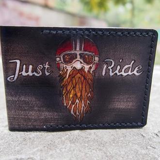 Мужская обложка на ID паспорт, кожаная обложка на документы Just Ride