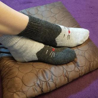 Носки плотной вязки с котиками